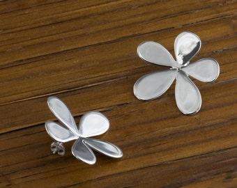 Handmade Floral Earrings On Post, Sterling silver