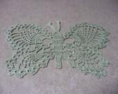 Light green Crochet butterfly doily