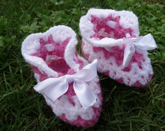 SALE 50 % OFF Crochet baby booties dark pink and white