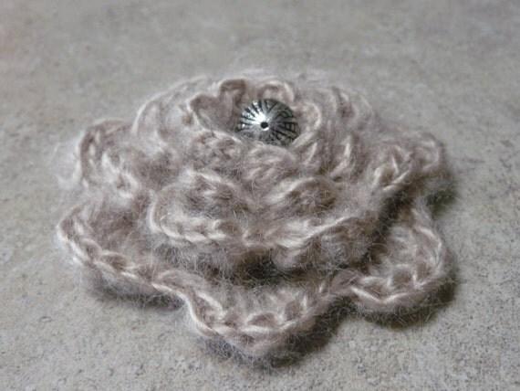 Beige mohair crochet brooch - nice gift SALE