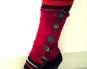 Maroon Velour Steam Punk Boot Covers