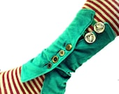 Emerald Green Boot Top Legwarmers with Nymph Leaf Metal Buttons