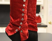 Red Legwarmers, Button Down Crushed Velvet 75% off