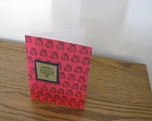 SALE - Cute Red & Black Ladybug Thank You Card with Envelope