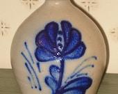 Vintage Stoneware Jug - Dated 1985 - Blue Slip Flower Design - Crock - Pottery