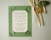 Wedding Invitations Set with Spring Leaves, Cutout, Scrapbook, Papercut by Mama Tita