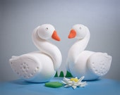 Cute Wedding Cake Toppers, Swans, by MamaTita