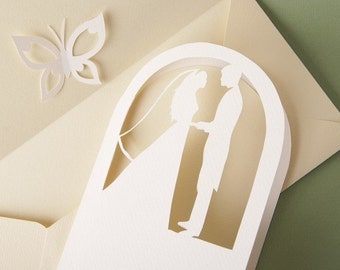 Wedding Invitations Set with a Secret (Butterfly) and Loving Couple, Bride and Groom Silhouettes, Cutout Scrapbook, Paper Cut by Naboko