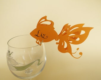 50 Place Cards, Wine Glass Decor, Golden Fish, Sea Themed Wedding, Ocean Style, Original calligraphy, Cutout, Scrapbook, Papercut by Naboko