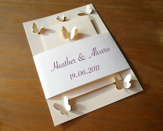 Wedding Invitations Set with Butterflies, Cutout, Scrapbook, Papercut by Mama Tita
