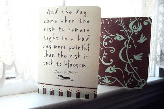Anais Nin Journal Set- Blossom Quote - 2 Journals