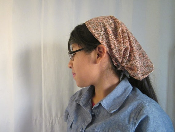 Autumn Spice Woman's Wide Headband Convertible Headcovering with Lace Ties