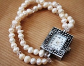 Clear Crystal and Freshwater Pearl Bridal Watch
