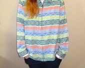 vintage pastel tribal embroidered jacket