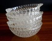 Vintage Clear Crystal Glass Dessert Dishes, Set of 4