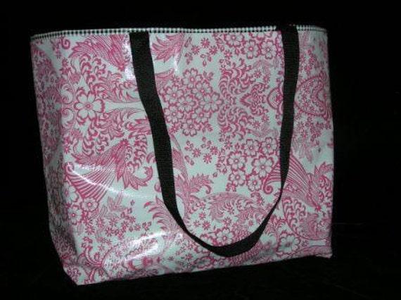 Large Pink Toile and Black Gingham Tote Bag / Beach Bag / Diaper Bag / Boat Bag / Swim Bag