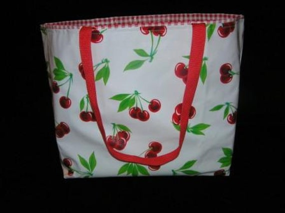 Medium Oilcloth (wipeable and water-resistant) Tote Bag with Cherry Exterior and Gingham Interior