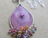 Solar Solania Necklace, sterling, solar quartz, pink amethyst