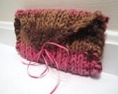 Knit Clutch Bag Bridesmaid, Wedding, Prom Brown Pink