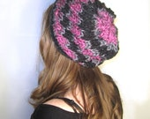 Slouchy Hat Knit Pink Black Striped
