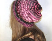 Womens Hat Knit Slouchy Striped Pink Magenta