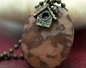 Jasper Stone and Little Birdhouse Necklace with Brass or Gold Plated Ball Chain