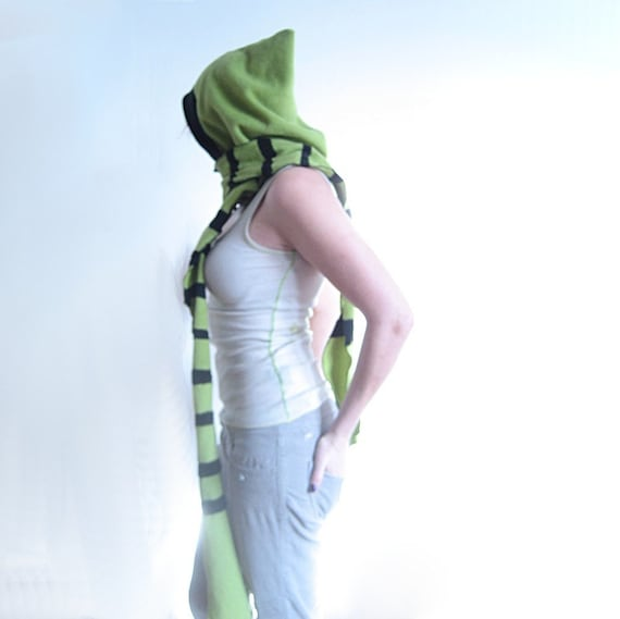Green and Black Striped Scoodie