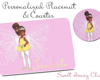 TuTu Sweet  Fairy Princess - Personalized Placemat and Coaster Set