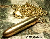 30 M1 Carbine bullet and brass necklace upcycled cool gift for him her biker steampunk