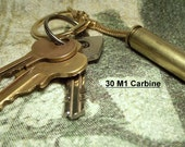 30 M1 Carbine bullet key chain ring fob cool gift.