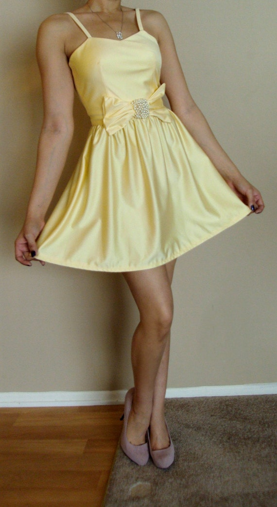 Sale Vintage 1960 S Canary Yellow Baby Doll Dress Crystal