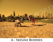Touristosaurus Series: Skyline Buddies - 8 x 10 photo print, framed and matted