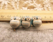10 pcs adorable blue little eye owl beads