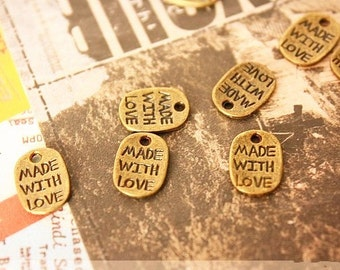 Half off -Made with love tags, charms-antique bronze-80 pcs-FZ104