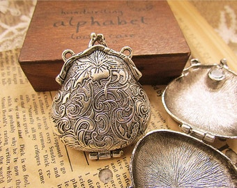 30% off 2 pcs fabulous purse locket /pendant-antique silver-FZ143