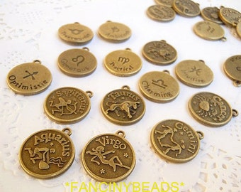 Fantastic set-zodiac charms -12 pcs-F192-two sides designed