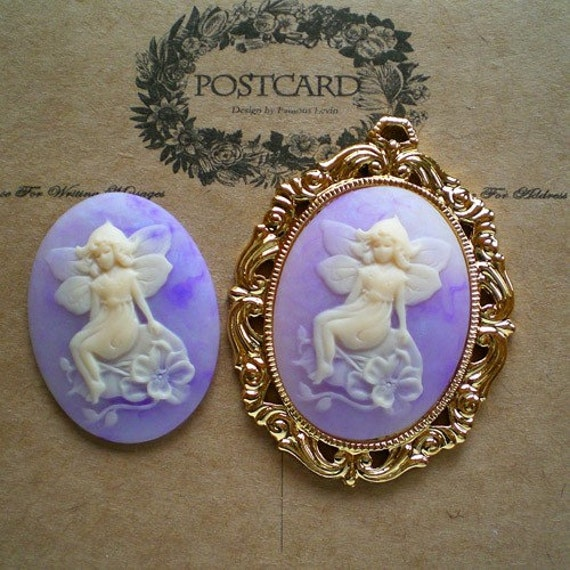 Highly recommended-faerie cameos-marble finish purple