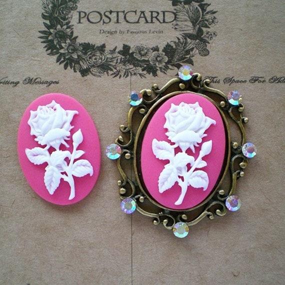 fuschia-rose cameos-2 pcs-fabulous