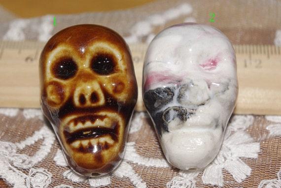 COOL-5 pcs big  porcelain skull beads-marble finish