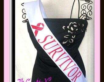 Breast Cancer Awareness Pink Ribbon Survivor Sash