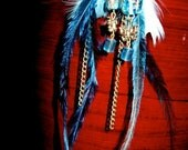 Midnight Blue, Pale Blue and Gold Long Feather Earrings