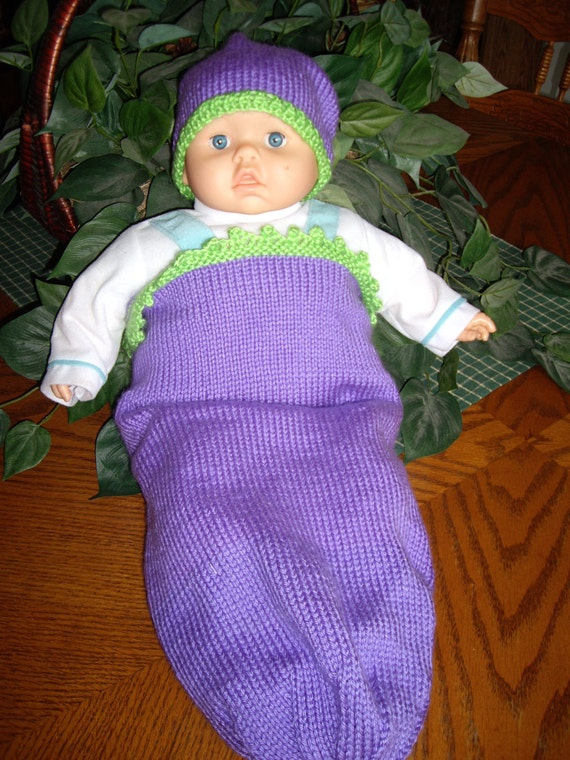 Sleep Sack for Newborn Baby in Grape Color Trimmed in Lime Green