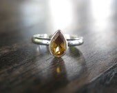 Dainty Ring - Pear Shaped Citrine- Sterling Silver Ring