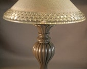 Desk lamp using vintage metal and glass