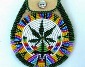 Hemp Design Beaded Rosette Neck Pouch Necklace