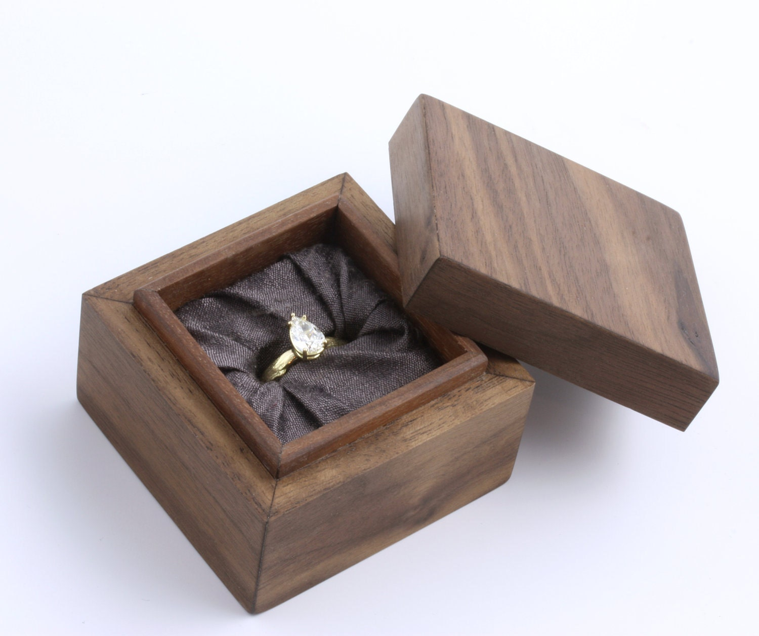 Handmade Wooden Ring Box With Silk Lining