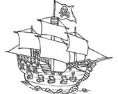 Pirate Ship Facing Right Wall Decal