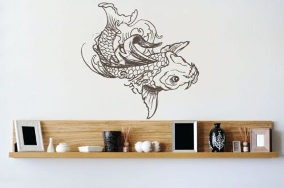 Items similar to koi fish wall decal on etsy for Koi fish wall stickers