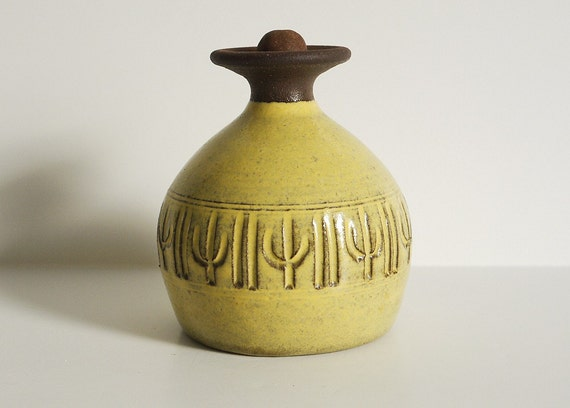 Mid-Century Incised Cactus Pottery Bottle