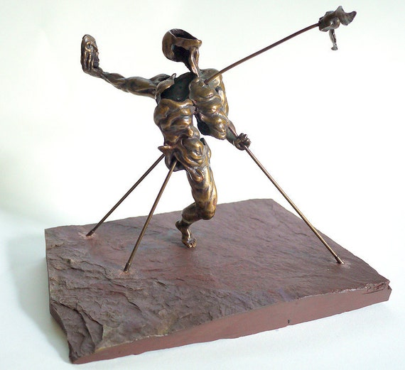 Bronze 1970's Surrealist Sculpture signed C. Marks